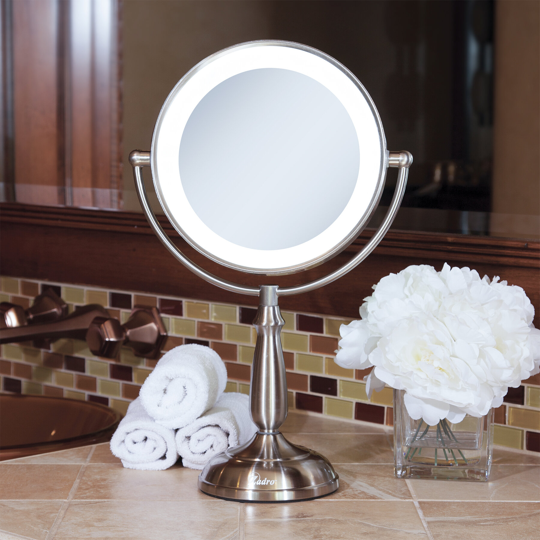 Lighted Vanity Mirror.Aldrick Dimmable Touch Ultra Bright Dual Sided Led Lighted Vanity Mirror