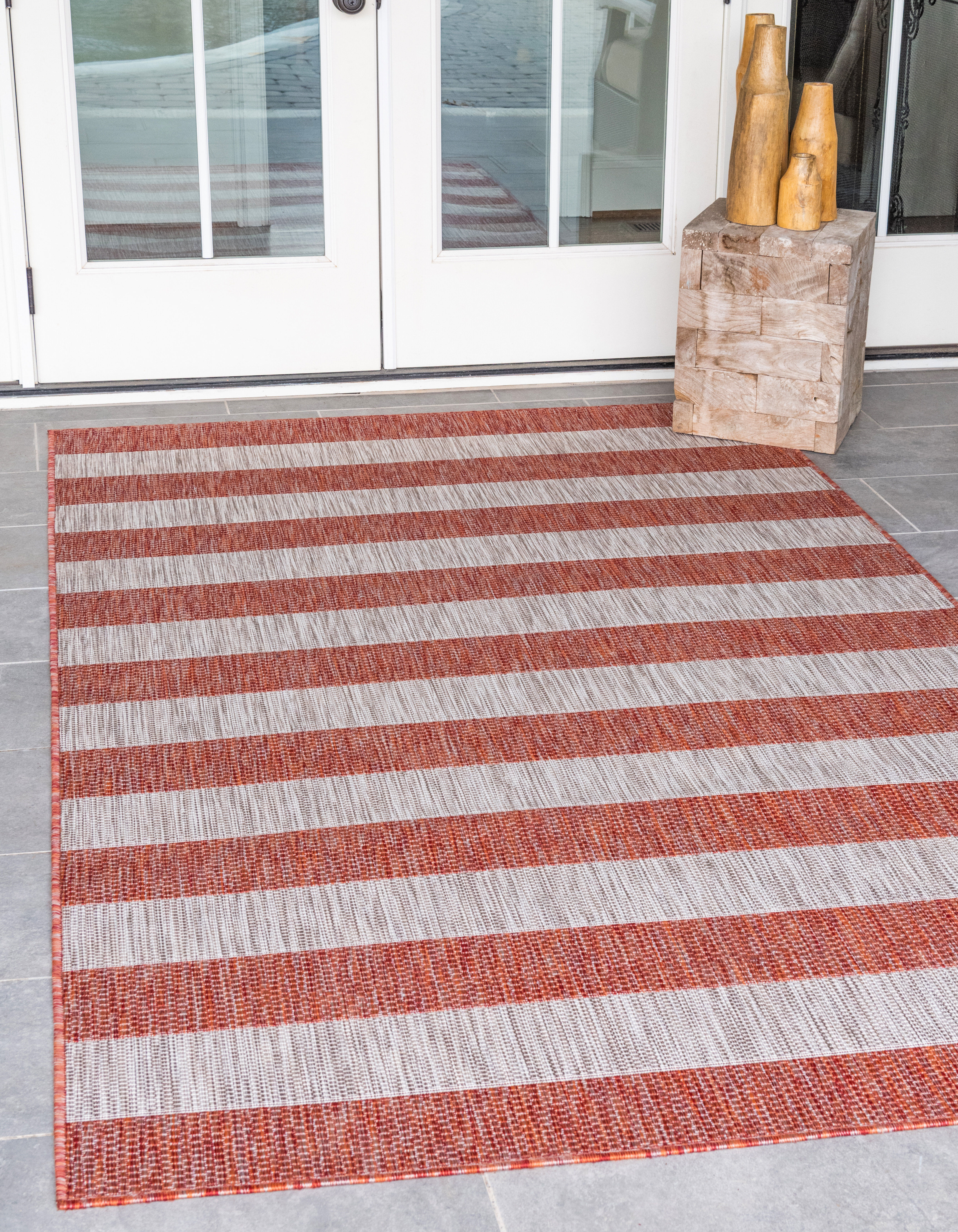 Breakwater Bay Simkins Striped Red Gray Indoor Outdoor Area Rug Reviews Wayfair