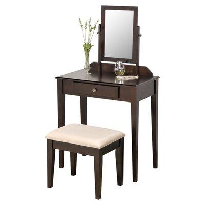 Andover Mills Mooney Vanity Set with Mirror Color: Espresso