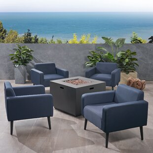 Breckenridge Outdoor 5 Piece Multiple Chairs Seating Group With Cushions by Brayden Studio No Copoun