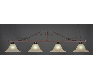 Red Barrel Studio North Billiard 4-Light Wrought Iron Rope Bar Pendant with Amber Marble Glass Shade