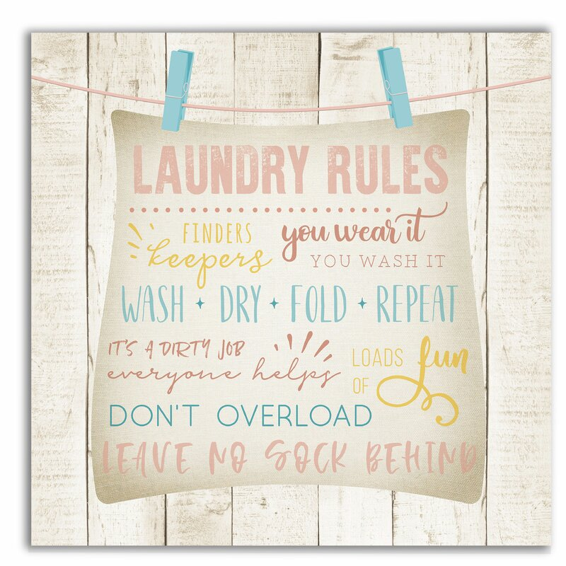 'Laundry Rules' Textual Art on Wrapped Canvas