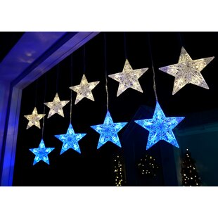 Christmas Star Flashing Window Curtain LED 50 Light Net Lights
