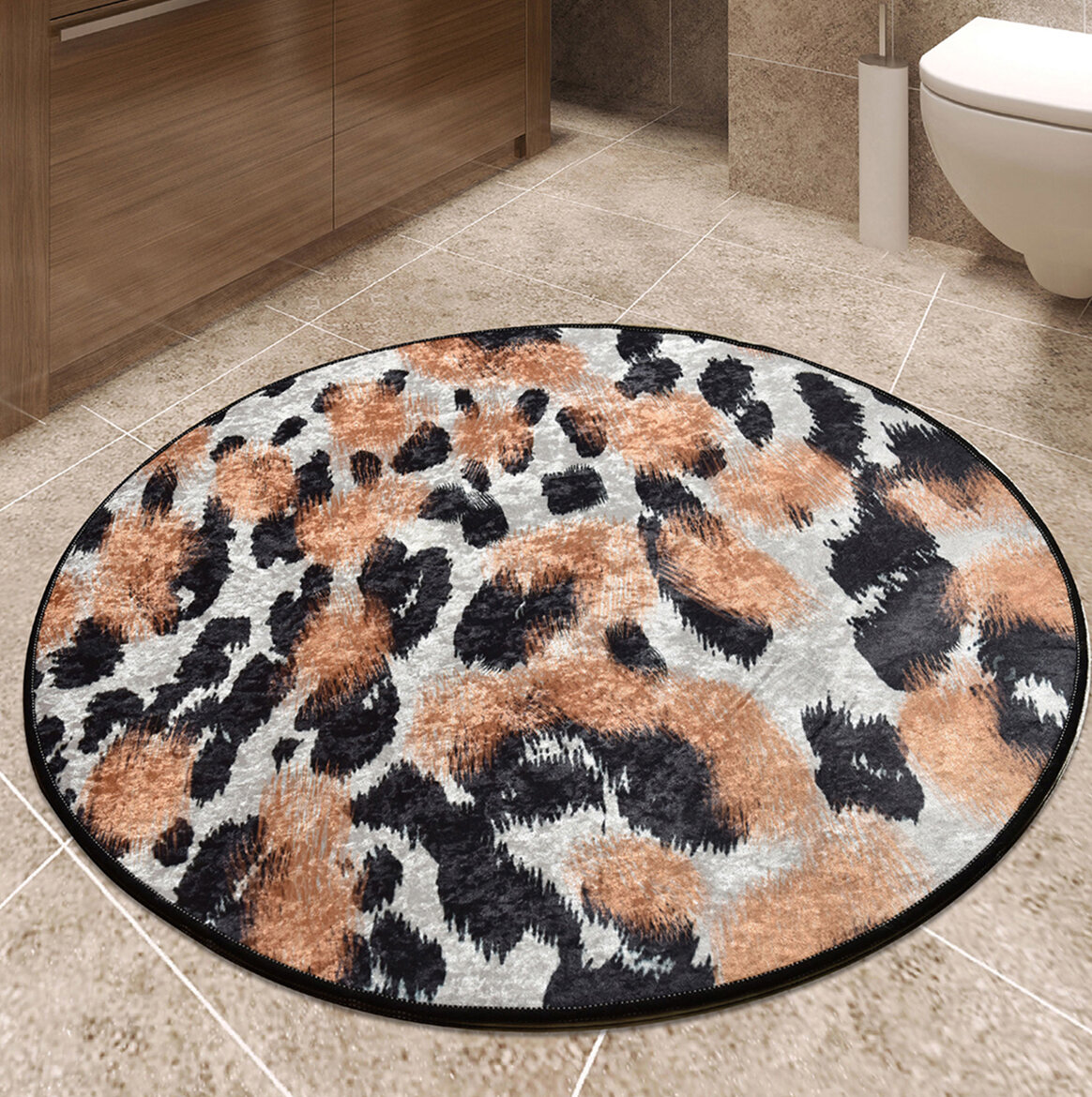Everly Quinn Sunburg Leopard Bath Rug