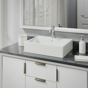 Shop For Vitreous China Rectangular Vessel Bathroom Sink with Faucet and Overflow By René By Elkay