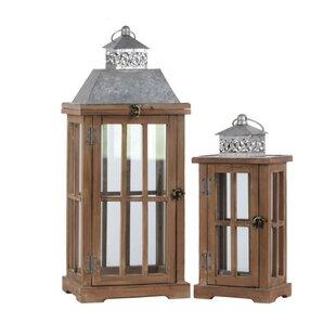Best Reviews 2 Piece Wood Lantern Set By Gracie Oaks