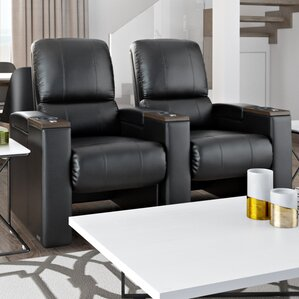 Bonded Leather Manual Rocker Recline Home Theater Row Seating (Row of 2) b..