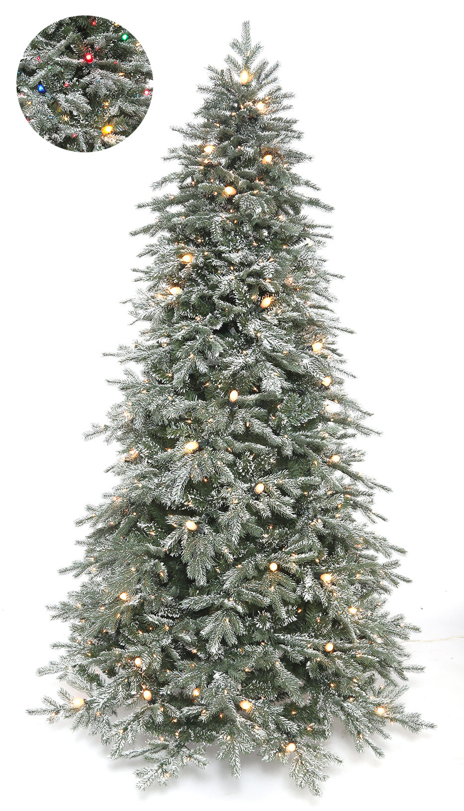 the holiday aisle frosted stowe lit 75 green spruce artificial christmas tree with 713 multi colored lights reviews wayfair