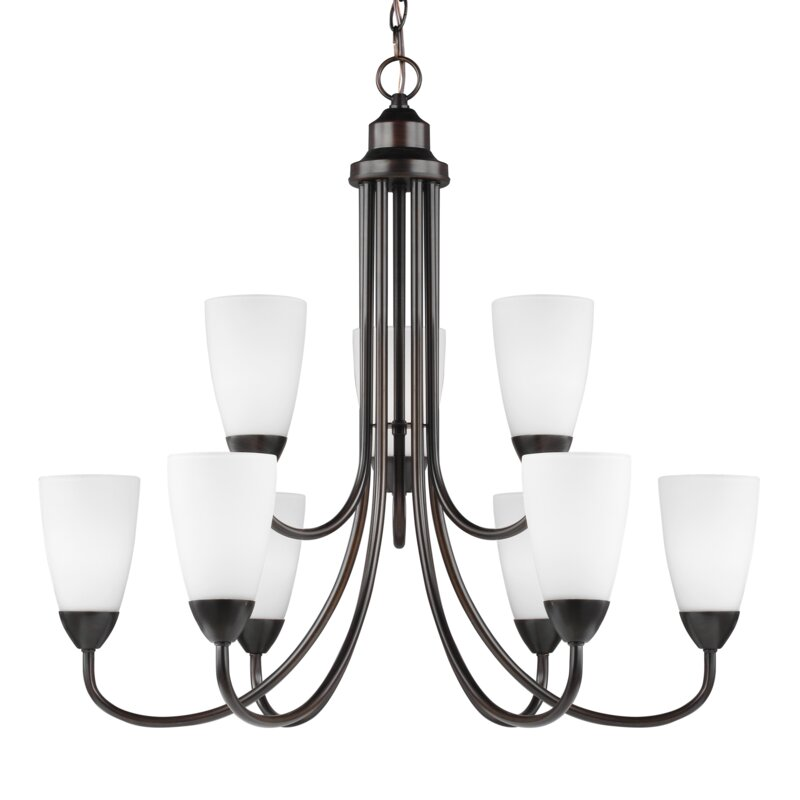 Ainsdale 9 Light Shaded Tiered Chandelier Joss Main