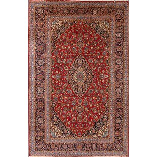 Look for One-of-a-Kind Hockman Floral Medallion Genuine Persian Vintage Hand-Knotted 8' x 12'8 Wool Blue/Burgundy Area Rug By Isabelline