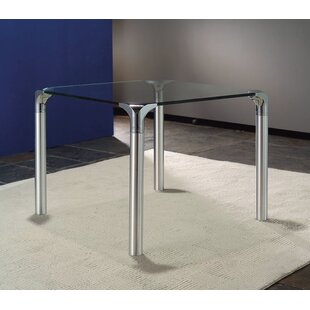 Glass Top End Table With Chrome Base