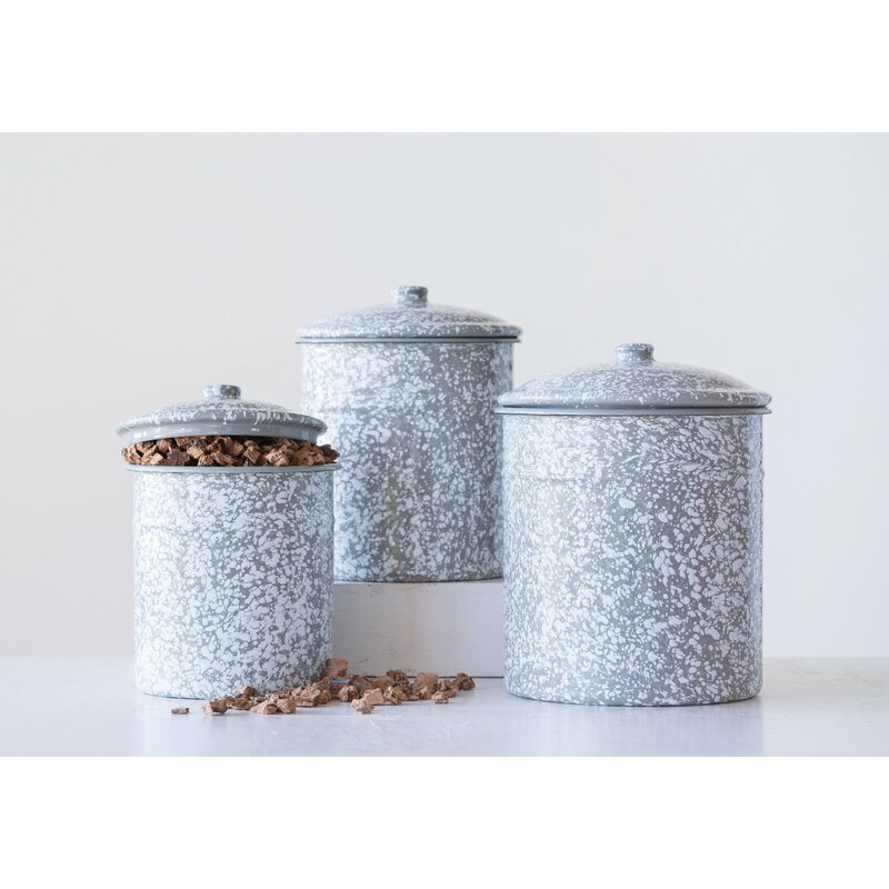 Enameled Splatterware 3 Piece Kitchen Canister Set