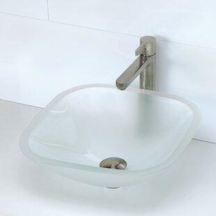 DECOLAV Kesia Translucence Glass Square Vessel Bathroom Sink