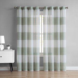Kieran Stripped Semi Sheer Single Curtain Panel