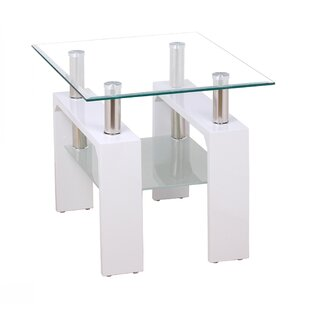 Zoey High Gloss Side Table With Storage