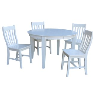 48 x 48 Round Extension 5 Piece Dining Set with 4 Slat Back Chairs
