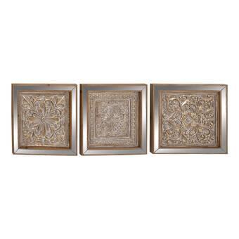 3 Piece Metal Mirror Plaque Wall Décor Set