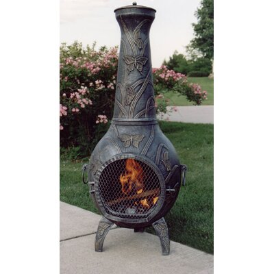 Oakland Living Butterfly Cast iron Wood Burning Chiminea Finish: Antique Pewter