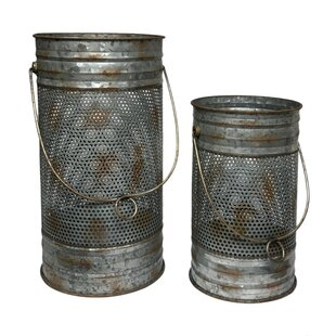 2 Piece Mesh Metal Lantern Set