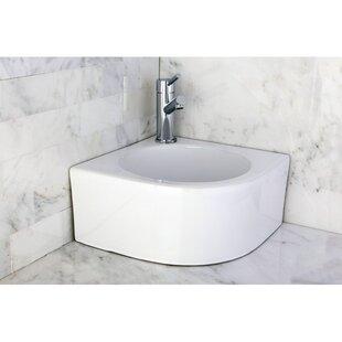 Kingston Brass Manhattan Ceramic Specialty Wall-Mount Bathroom Sink
