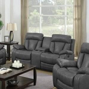 Benjamin Leather Reclining Sofa with Console..