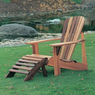 T&L Wood Adirondack Chair with Ottoman