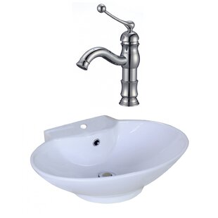 Savings Ceramic Oval Vessel Bathroom Sink with Faucet and Overflow By American Imaginations