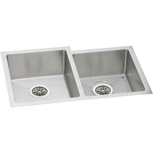 Crosstown 31 L x 21 W Double Basin Undermount Kitchen Sink with Grid and Drain Assembly by Elkay