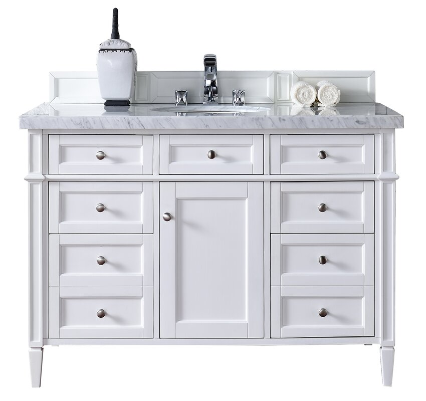Single Cottage White Marble Top Bathroom Vanity Set