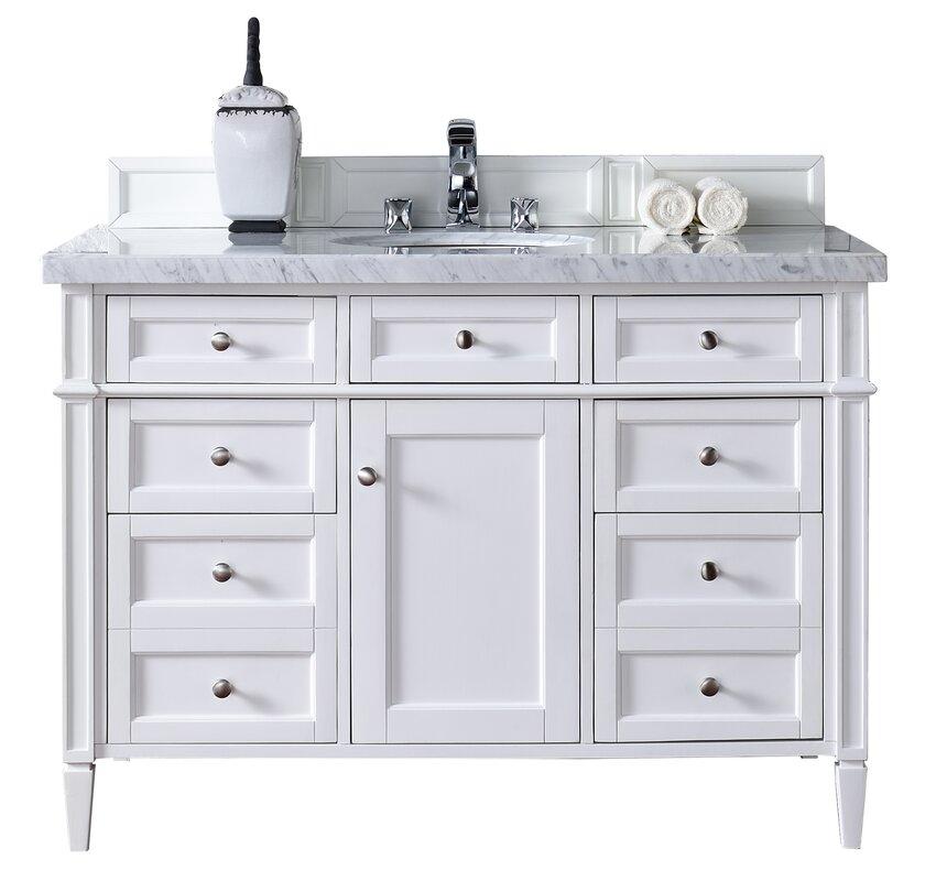 Single Cottage White Marble Top Bathroom Vanity Set