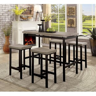 Mounce Wooden 5 Piece Pub Table Set Latitude Run