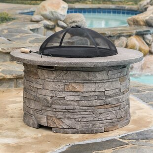 Loon Peak Winnett Faux Stone Wood Burning Fire Pit Table