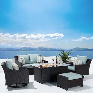 Bentlee 5 Piece Rattan Sofa Seating Group with Cushions