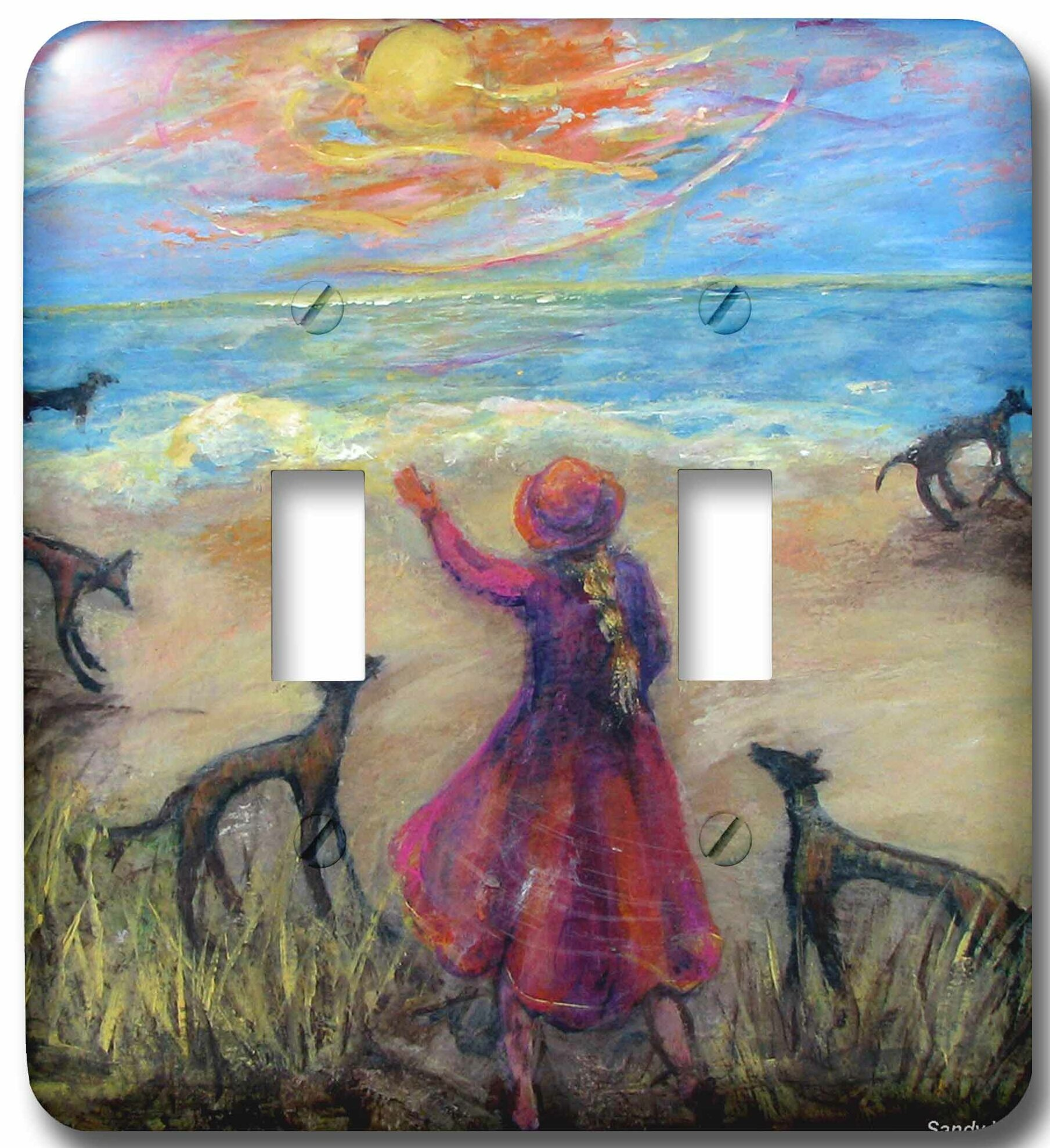3drose Seaside Girl And Greyhounds Quaint Girl In Plays With Dogs On The Beach 2 Gang Toggle Light Switch Wall Plate Wayfair
