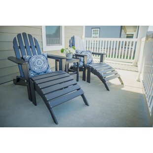 Magana Plastic Folding Adirondack Chair with Table and Ottoman