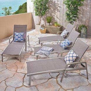 Orren Ellis Key Reclining Chaise Lounge (Set of 4)
