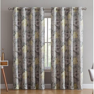 Enzo Floral/Flower Max Blackout Thermal Grommet Curtain Panels (Set of 2) by One Allium Way