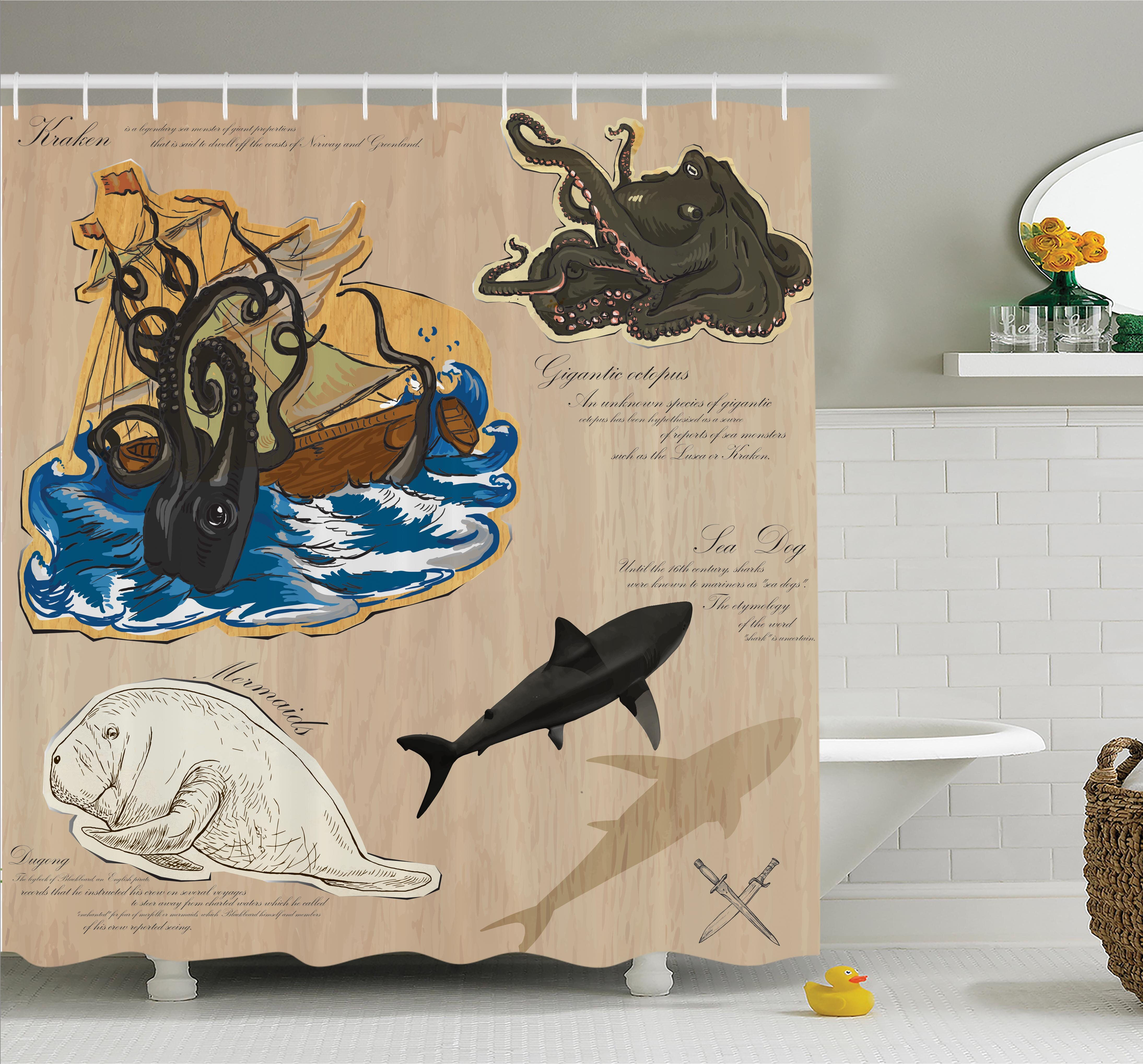 Ambesonne Nautical Sea Monsters Pirate Shower Curtain Set