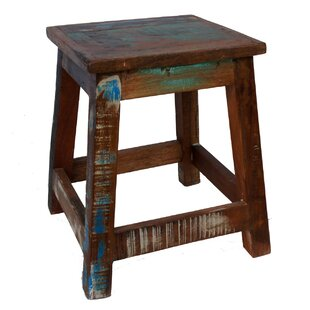 Sanjay Old Painted Teak Stool By World Menagerie