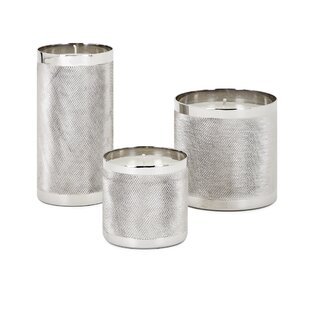 Brayden Studio Contemporary Wax Filled 3 Piece Aluminum Lantern Set