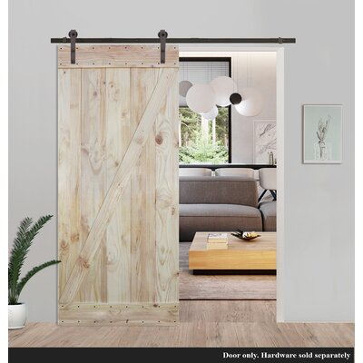 Two Side Z Bar Solid Wood Paneled Knotty Pine Slab Interior Barn Door
