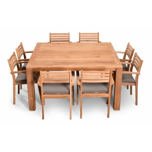 Culbertson 9 Piece Teak Sunbrella Dining Set with Cushions by Highland Dunes