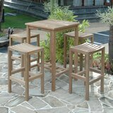 Avalon 5 Piece Teak Bar Height Dining Set