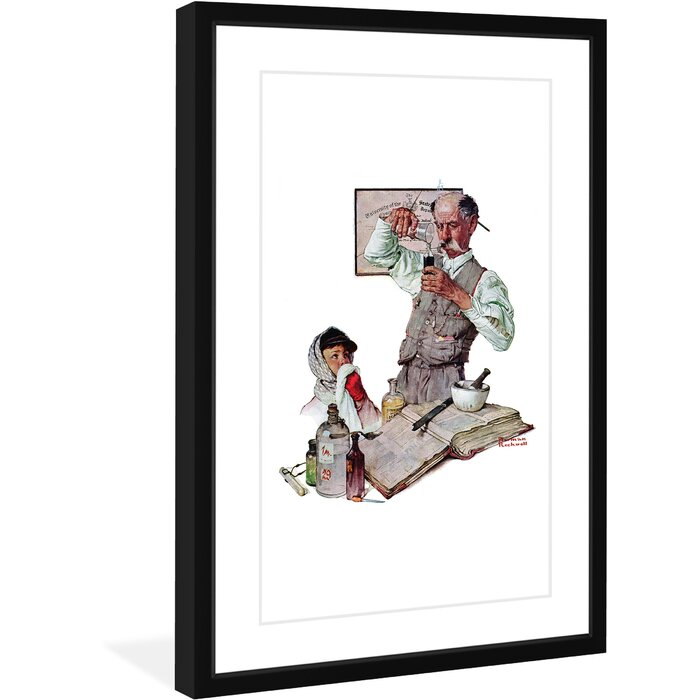 Pharmacist By Norman Rockwell Framed Painting Print