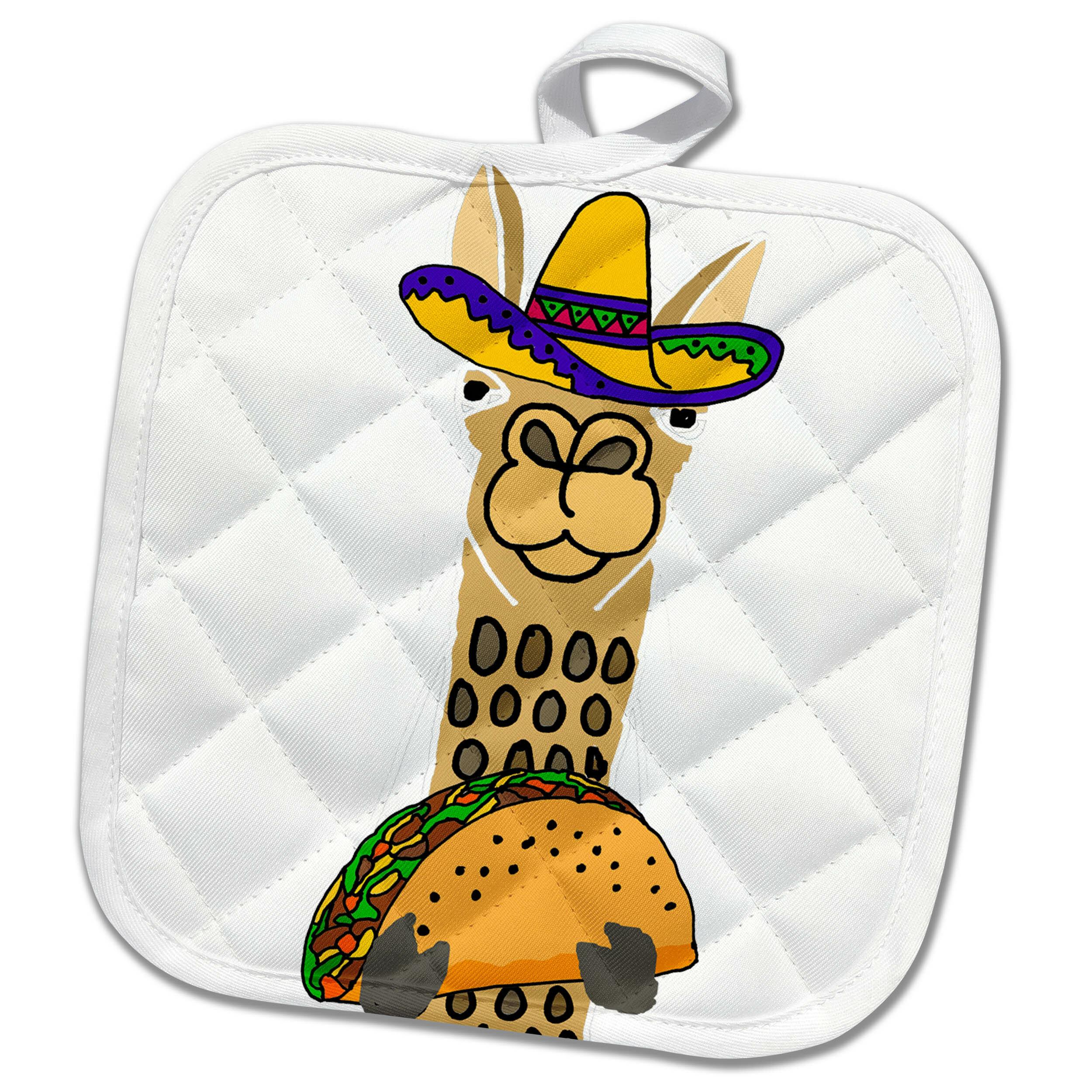 3drose Funny Cute Llama Wearing Sombrero And Eating Taco Cartoon Potholder Wayfair