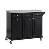 Philippe Kitchen Cart with Stainless Steel Top by August Grove®