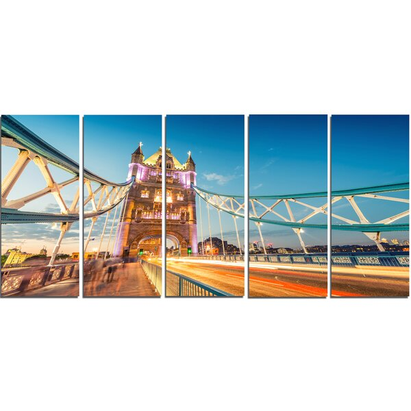 Designart Beautiful View Of Tower Bridge London 5 Piece Wall Art On Wrapped Canvas Set Wayfair