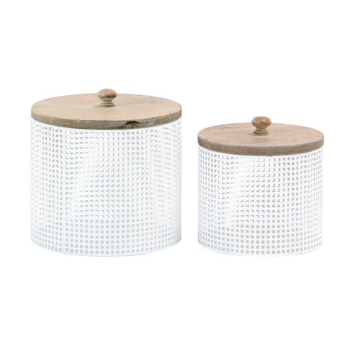 Modern Round 2 Piece Kitchen Canister Set with Lid