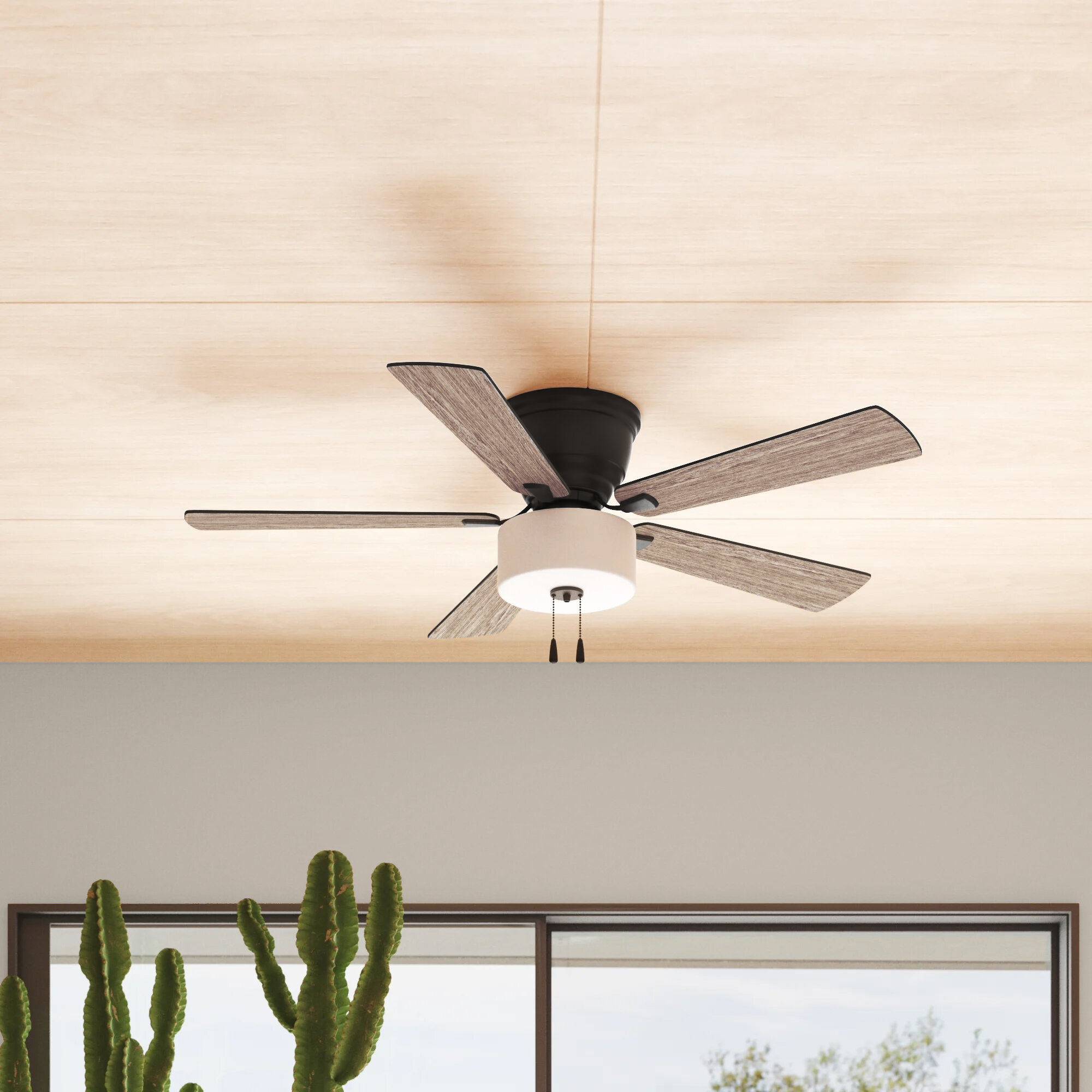 Three Posts 52 Bernie 5 Blade Flush Mount Ceiling Fan With Pull Chain And Light Kit Included Reviews Wayfair