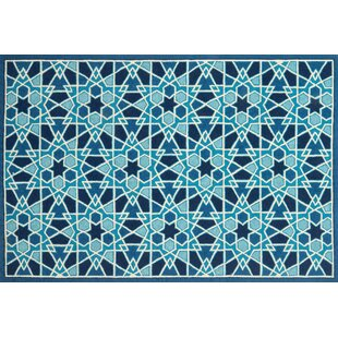 Rankin Hand-Hooked Light Blue/Navy Indoor/Outdoor Area Rug